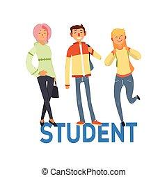 jogo, estudante, pessoas