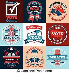 jogo, etiquetas, eleições, vetorial, voto, etc., emblemas