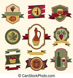 jogo, etiquetas, emblemas, elements., vinho