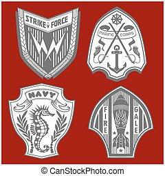 jogo, etiquetas, forças, militar, logotipo, armado, emblemas