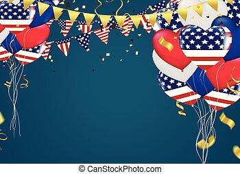 jogo, eua, cordas, triangular, 4th, escuro, vetorial, bandeiras, fundo, julho, balões, dia, independência