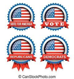 jogo, eua, vetorial, eleição, 2016, emblema, presidencial