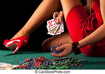 jogo, excitado, mulher