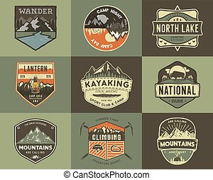 jogo, expedição, etiquetas, logotipo, concepts., montanha, remendos, acampamento, designs., viagem, isolado, retro, desenhado, estoque, mão, logotypes, badges., emblemas, collection., acampamento, vetorial, vindima