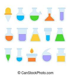 jogo, experiência., ícones, químico, equipamento, vetorial, laboratório, branca
