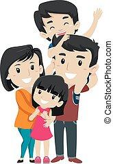 jogo, família asian, feliz