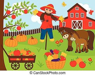 jogo, fazenda, set., ilustração, vetorial, colheita
