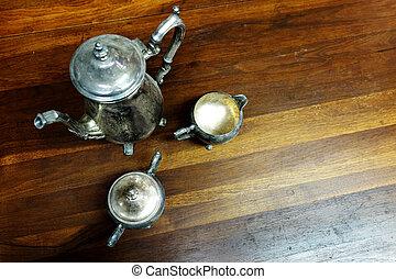 jogo, feito à mão, jarro, chá, copos, prata