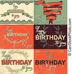 jogo, feliz aniversário, mão, lettering, caligrafia