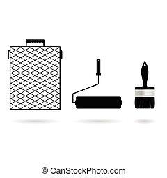 jogo, ferramenta, ilustração, pintura, pretas, ícone