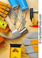 jogo, ferramentas, carpintaria