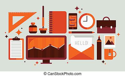 jogo, ferramentas, escritório, ilustração