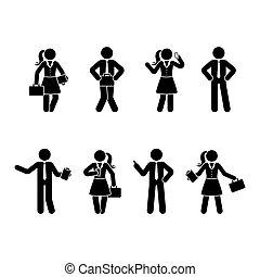 jogo, figura, escritório, homens, vara, mulheres