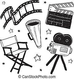 jogo filme, equipamento, esboço