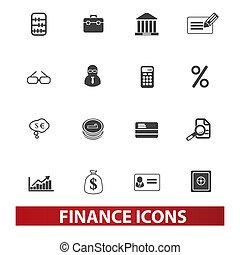 jogo, finanças dinheiro, vetorial, ícones