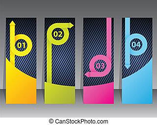 jogo, fitas, seta, coloridos, etiqueta