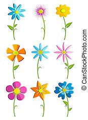 jogo, flor, coloridos
