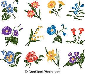 jogo, flores, diferente