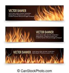 jogo, fogo, quentes, vetorial, anúncio, bandeiras, horizontais