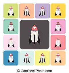 jogo, foguete, cor, ilustração, vetorial, ícone