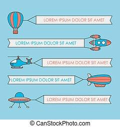 jogo, foguete, ufo, aeróstato, balloon, veículos, ar, banners., helicóptero, bandeira, aeronave