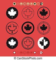 jogo, folha, canadense, ícones, bandeira, maple