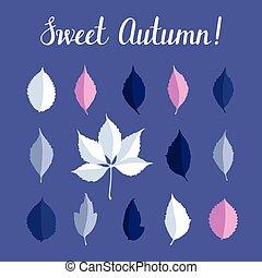 jogo, folhas, isolado, outono, vetorial, fundo, branca