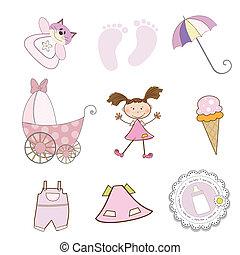 jogo, formato, itens, isolado, vetorial, fundo, menina bebê...