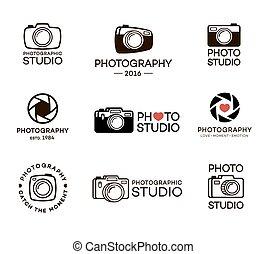jogo, foto, fotografia, business., ilustração, vetorial, estúdio, selos, desenho, bandeiras, logo., seu, elementos