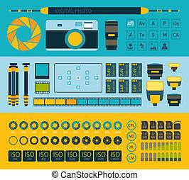 jogo, foto, parte, infographics, um