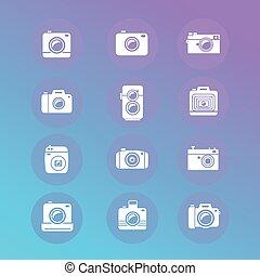 jogo, foto, vetorial, retro, novo, câmera, ícone