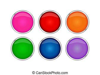 jogo, frame., metal, botões, realístico, multi-colorido