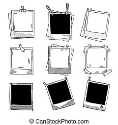 jogo, frames., foto, ilustração, mão, vetorial, vindima, desenhado