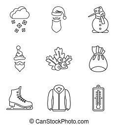 jogo, frostbite, estilo, esboço, ícones