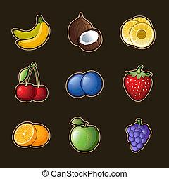 jogo, fruta, ícones