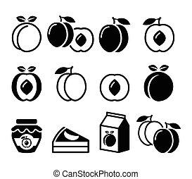 jogo, fruta, pêssego, damasco, ícones