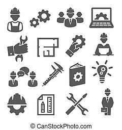 jogo, fundo branco, engenharia, ícones