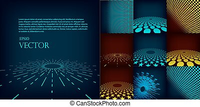 jogo, fundo, dez, feito, gradiente, abstratos, vetorial, modelo, digital, circles., incluir