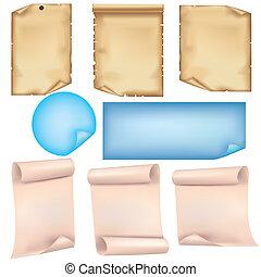 jogo, fundo, isolado, papel, folhas, branca