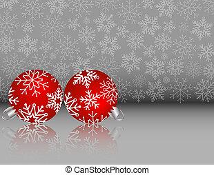jogo, fundo, snowflake, prata, ornamentos, natal, vermelho