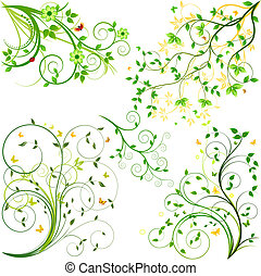 jogo, fundo, vetorial, floral