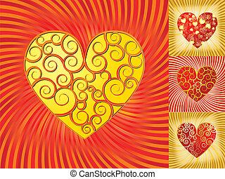 jogo, fundos, ilustração, valentine, vetorial, corações
