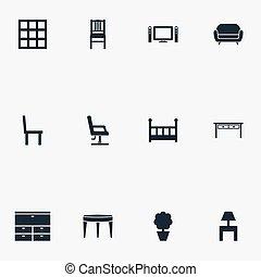 jogo, furnishings, aparador, simples, ilustração, outro,...