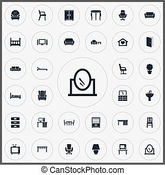 jogo, furnishings, simples, plano-tela, lâmpada, synonyms,...