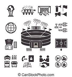 jogo, futebol, ícones