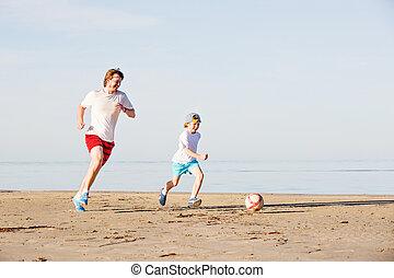 jogo, futebol, pai, filho, futebol, praia, ou, feliz