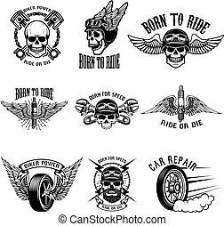jogo, ganhe, biker, corredores, experiência., emblemas, branca, crânios