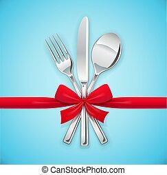 jogo, garfo, bow., colher, utensílios, vermelho, eating., faca