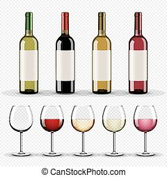 jogo, garrafas, óculos, vinho