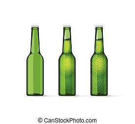 jogo, garrafas, cheio, cerveja, bolhas, verde, vazio